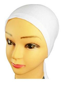 White Hijab Bonnet Cap Plain Tieback Underscarf