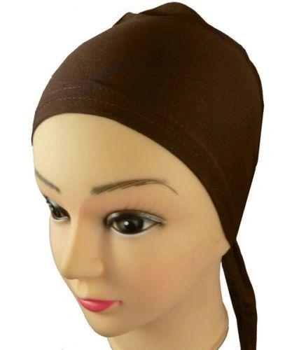 Brown Hijab Bonnet Cap Plain Tieback Underscarf