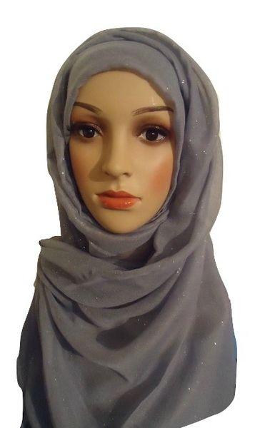 Womens Ladies Grey Glitter Hijab Maxi Scarf