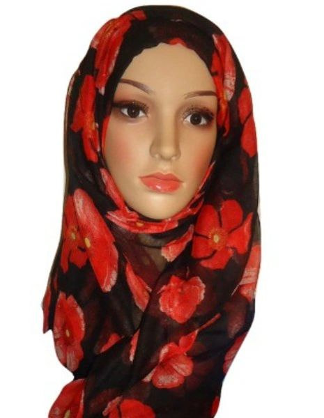 Womens Ladies Black Red Floral Hijab Maxi Scarf