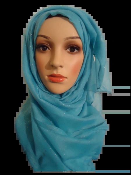 Womens Ladies Light Blue Glitter Hijab Maxi Scarf