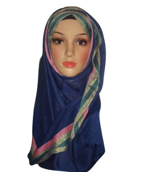 Womens Ladies Navy Blue Glitter Border Hijab Maxi Scarf