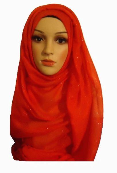 Womens Ladies Red Glitter Hijab Maxi Scarf