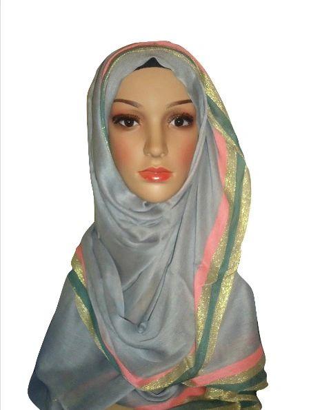 Womens Ladies Grey Glitter Border Hijab Maxi Scarf