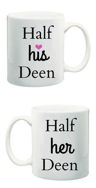 Half His Deen and Half Her Deen Wedding Mug Set Islamic Gift