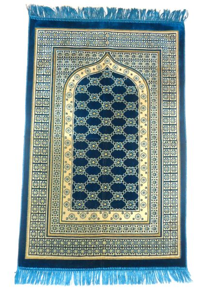 Blue Turkish Islamic Muslim Prayer Mat