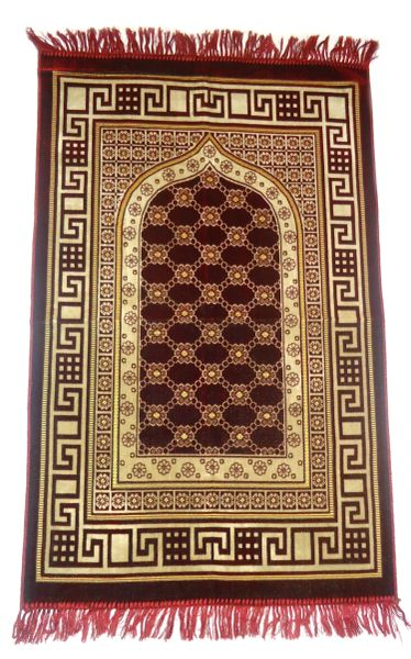 Red Turkish Islamic Muslim Prayer Mat