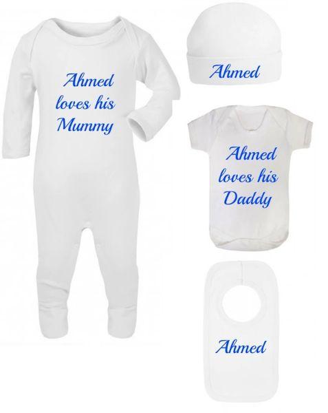 Personalised Boys Girls Baby White Bodysuit Romper Hat Vest Bib Set