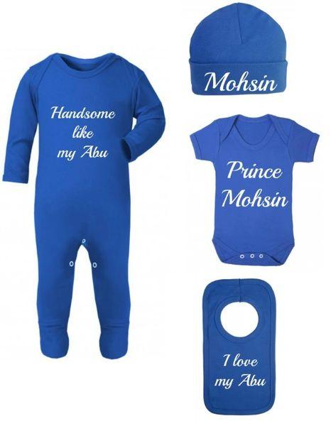 Personalised Boys Baby Blue Bodysuit Romper Hat Vest Bib Set