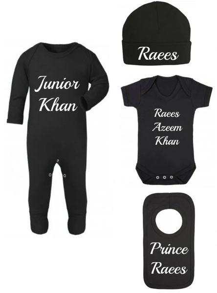 Personalised Boys Girls Baby Black Bodysuit Romper Hat Vest Bib Set