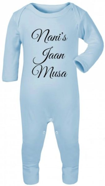 Personalised Baby English Babygrow Bodysuit Sleepsuit Romper Chest