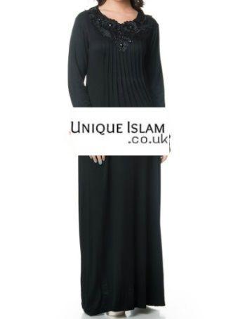 Ladies Womens Black Jersey Knitted Abaya Kaftan Dress