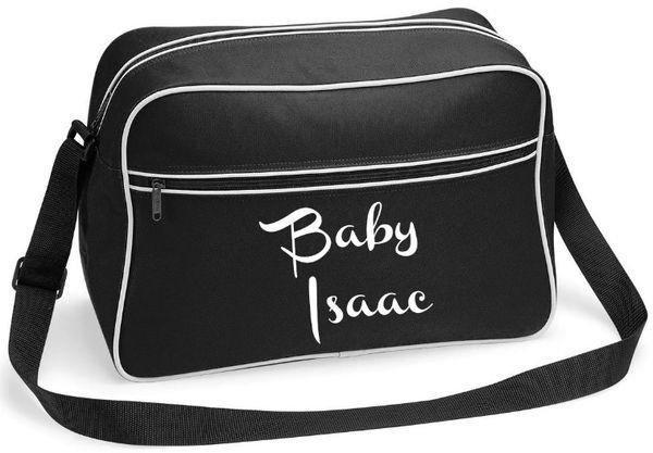Personalised Baby Toddler Black White Changing Bag
