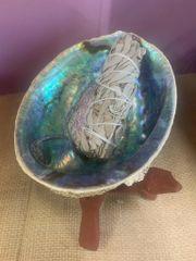 Abalone Shell & Wood Stand Sage Burner W/Sage