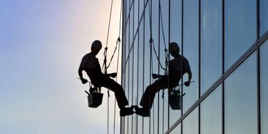 building glass facade cleaning using spiderman technique at hyderabad