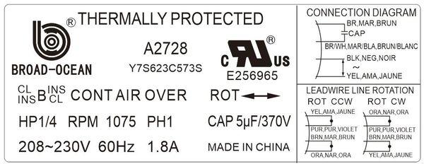 a2728 70c 1/4hp condenser fan motor 1075 rpm 18 amp