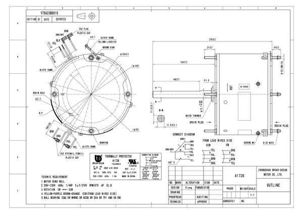 A1728, 1/4HP Condenser Fan Motor, 1075 RPM, 230V, 1.8 AMP ...