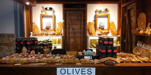 Olive shop in Panagia, Thassos