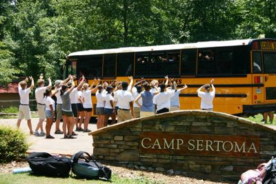 "Camp Sertoma Counselors wish ""Safe Travels"" to departing campers."