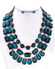 Blue Zircon Glass Necklace Set