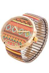 Linear Geometric Pattern Orange Band Watch