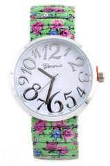Silver Framed Floral design Watch