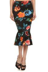 Floral Print High Waisted Midi Skirt with Fluted Hem