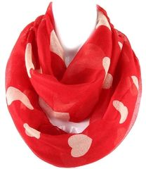 Multiple Hearts Infinity Scarf, Red