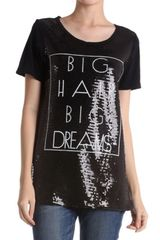 Sequin Fashion Top With White Wording