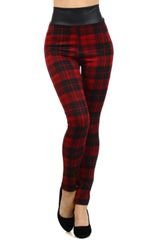 Plaid and Faux Leather High Waisted Leggings