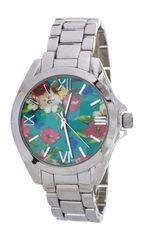 Floral Print Crystal Fashion Watch, Mint