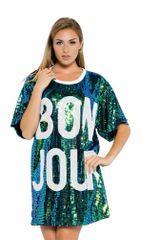 Oversized Sequins Bonjour Shirt Dress
