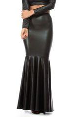 Women's Black Faux Leather Mermaid Maxi Skirt