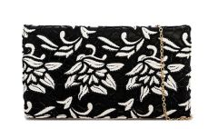 Black & White Flower Embroidered Clutch