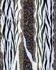 Zebra and Cheetah Print Satin Stripe Scarf (White/ Black)