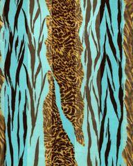 Zebra and Cheetah Print Satin Stripe Scarf (Aqua Blue/ Brown)