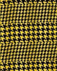 Houndstooth Satin Stripe Scarf (Yellow / Black)