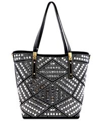 Multi Rhinestone Studded Suede and Leather Satchel