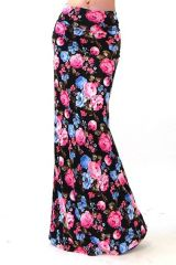 Sexy Black and Floral Print Maxi Skirt S-XL