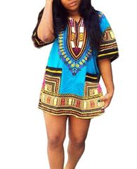 Women's Tribal Printed Dress with Side Pockets