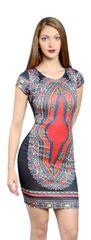 Black Body con Dress with Tribal Print Detail