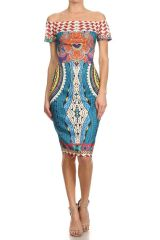 Women's Off the Shoulder Multicolored Abstract Print Dress