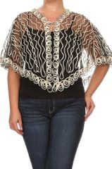 Plus Size Gold and Black Mesh Cropped Cardigan