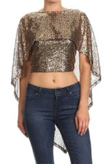 Gold Sequin Embellished Cropped Top Ruffled Cape Style Top