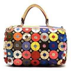 Genuine Leather Bubble Style Patchwork Boston Bag