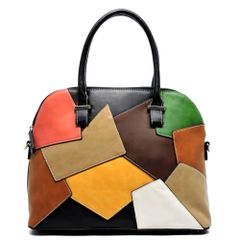 Multicolored Patchwork Dome Satchel
