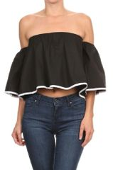 Off The Shoulder Shirt With Pleated Detail
