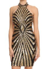 Gold and Black Sequin Patterned Sleeveless Body con Dress