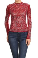 Long Sleeve Studded Detail Crew Neck Top
