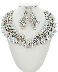 AB Glass and Clear Rhinestone Statement Necklace Set